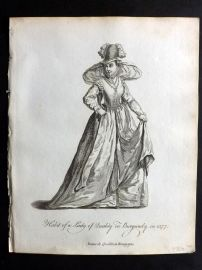 Jefferys C1760 Costume Print. Lady of Quality in Burgundy in 1577. France